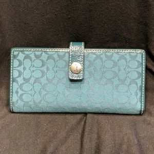 Teal Coach checkbook with credit card slots